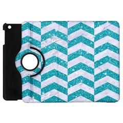 Chevron2 White Marble & Turquoise Glitter Apple Ipad Mini Flip 360 Case by trendistuff