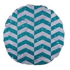 Chevron2 White Marble & Turquoise Glitter Large 18  Premium Round Cushions by trendistuff