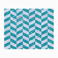 Chevron1 White Marble & Turquoise Glitter Small Glasses Cloth (2 Side) by trendistuff