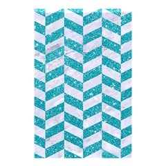 Chevron1 White Marble & Turquoise Glitter Shower Curtain 48  X 72  (small)
