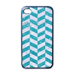 Chevron1 White Marble & Turquoise Glitter Apple Iphone 4 Case (black) by trendistuff