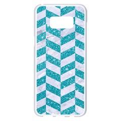 Chevron1 White Marble & Turquoise Glitter Samsung Galaxy S8 Plus White Seamless Case by trendistuff