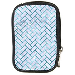 Brick2 White Marble & Turquoise Glitter (r) Compact Camera Cases by trendistuff