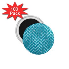 Brick2 White Marble & Turquoise Glitter 1 75  Magnets (100 Pack)  by trendistuff