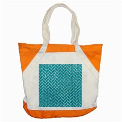 Brick2 White Marble & Turquoise Glitter Accent Tote Bag by trendistuff