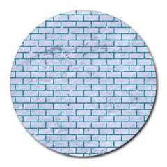 Brick1 White Marble & Turquoise Glitter (r) Round Mousepads by trendistuff