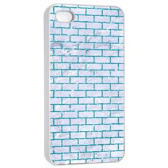 Brick1 White Marble & Turquoise Glitter (r) Apple Iphone 4/4s Seamless Case (white) by trendistuff