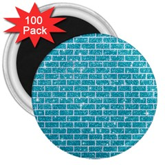 Brick1 White Marble & Turquoise Glitter 3  Magnets (100 Pack) by trendistuff