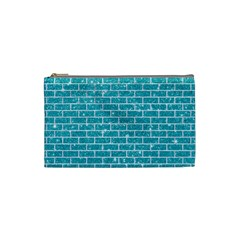 Brick1 White Marble & Turquoise Glitter Cosmetic Bag (small)  by trendistuff