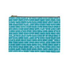 Brick1 White Marble & Turquoise Glitter Cosmetic Bag (large)  by trendistuff
