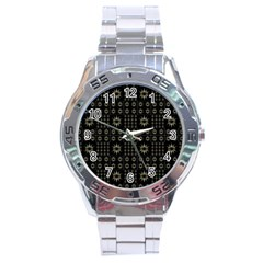 Dark Ethnic Stars Motif Pattern Stainless Steel Analogue Watch