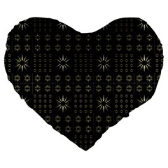 Dark Ethnic Stars Motif Pattern Large 19  Premium Heart Shape Cushions by dflcprints