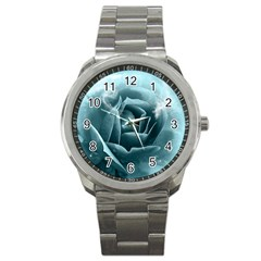 Beautiful Blue Roses With Water Drops Sport Metal Watch by FantasyWorld7
