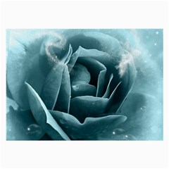 Beautiful Blue Roses With Water Drops Large Glasses Cloth (2 Side) by FantasyWorld7