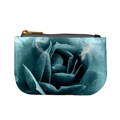 Beautiful Blue Roses With Water Drops Mini Coin Purses by FantasyWorld7