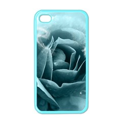 Beautiful Blue Roses With Water Drops Apple Iphone 4 Case (color) by FantasyWorld7