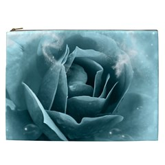 Beautiful Blue Roses With Water Drops Cosmetic Bag (xxl)