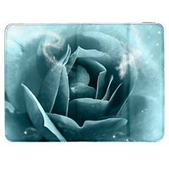 Beautiful Blue Roses With Water Drops Samsung Galaxy Tab 7  P1000 Flip Case by FantasyWorld7