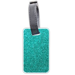 Aqua Glitter Luggage Tags (one Side)