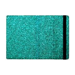 Aqua Glitter Apple Ipad Mini Flip Case by snowwhitegirl