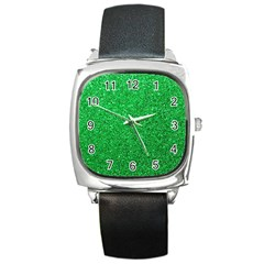 Green Glitter Square Metal Watch by snowwhitegirl