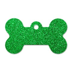Green Glitter Dog Tag Bone (one Side) by snowwhitegirl