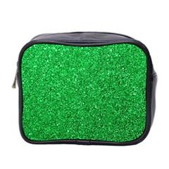 Green Glitter Mini Toiletries Bag 2 Side by snowwhitegirl