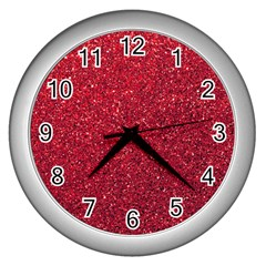 Red  Glitter Wall Clocks (silver)  by snowwhitegirl