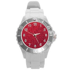 Red  Glitter Round Plastic Sport Watch (l) by snowwhitegirl