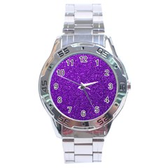 Purple  Glitter Stainless Steel Analogue Watch by snowwhitegirl