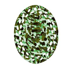 Brownish Green Camo Oval Filigree Ornament (two Sides) by snowwhitegirl