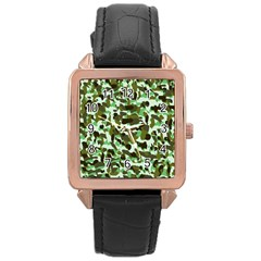 Brownish Green Camo Rose Gold Leather Watch  by snowwhitegirl