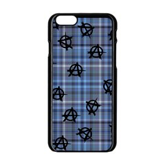 Blue  Plaid Anarchy Apple Iphone 6/6s Black Enamel Case by snowwhitegirl