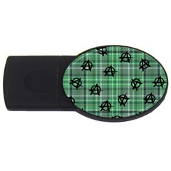 Green  Plaid Anarchy Usb Flash Drive Oval (4 Gb) by snowwhitegirl