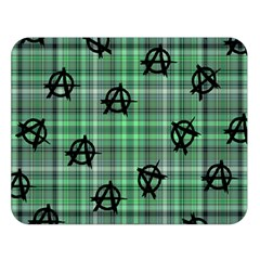 Green  Plaid Anarchy Double Sided Flano Blanket (large)  by snowwhitegirl