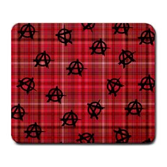 Red Plaid Anarchy Large Mousepads by snowwhitegirl