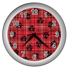 Red Plaid Anarchy Wall Clocks (silver)  by snowwhitegirl