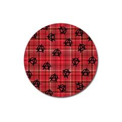 Red Plaid Anarchy Magnet 3  (round) by snowwhitegirl