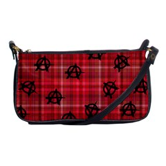Red Plaid Anarchy Shoulder Clutch Bags by snowwhitegirl