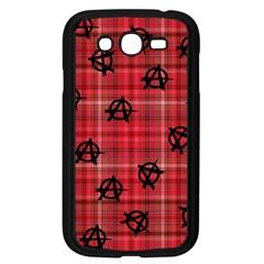 Red Plaid Anarchy Samsung Galaxy Grand Duos I9082 Case (black) by snowwhitegirl