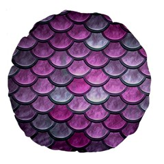 Pink Mermaid Scale Large 18  Premium Flano Round Cushions by snowwhitegirl