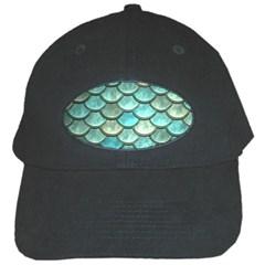 Aqua Mermaid Scale Black Cap by snowwhitegirl