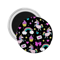 Cute Unicorn Pattern 2 25  Magnets by Valentinaart