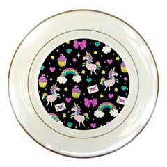 Cute Unicorn Pattern Porcelain Plates by Valentinaart