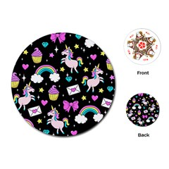 Cute Unicorn Pattern Playing Cards (round)  by Valentinaart