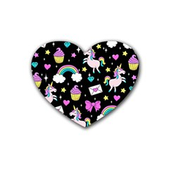 Cute Unicorn Pattern Rubber Coaster (heart)  by Valentinaart