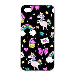 Cute Unicorn Pattern Apple Iphone 4/4s Seamless Case (black) by Valentinaart