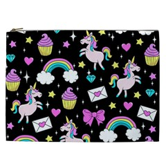 Cute Unicorn Pattern Cosmetic Bag (xxl)  by Valentinaart