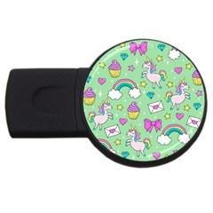 Cute Unicorn Pattern Usb Flash Drive Round (4 Gb) by Valentinaart