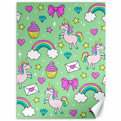 Cute Unicorn Pattern Canvas 36  X 48   by Valentinaart